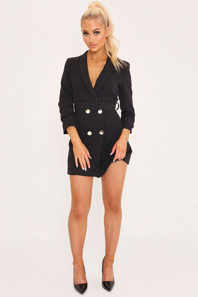 Black Double Button Belted Blazer Dress view 2