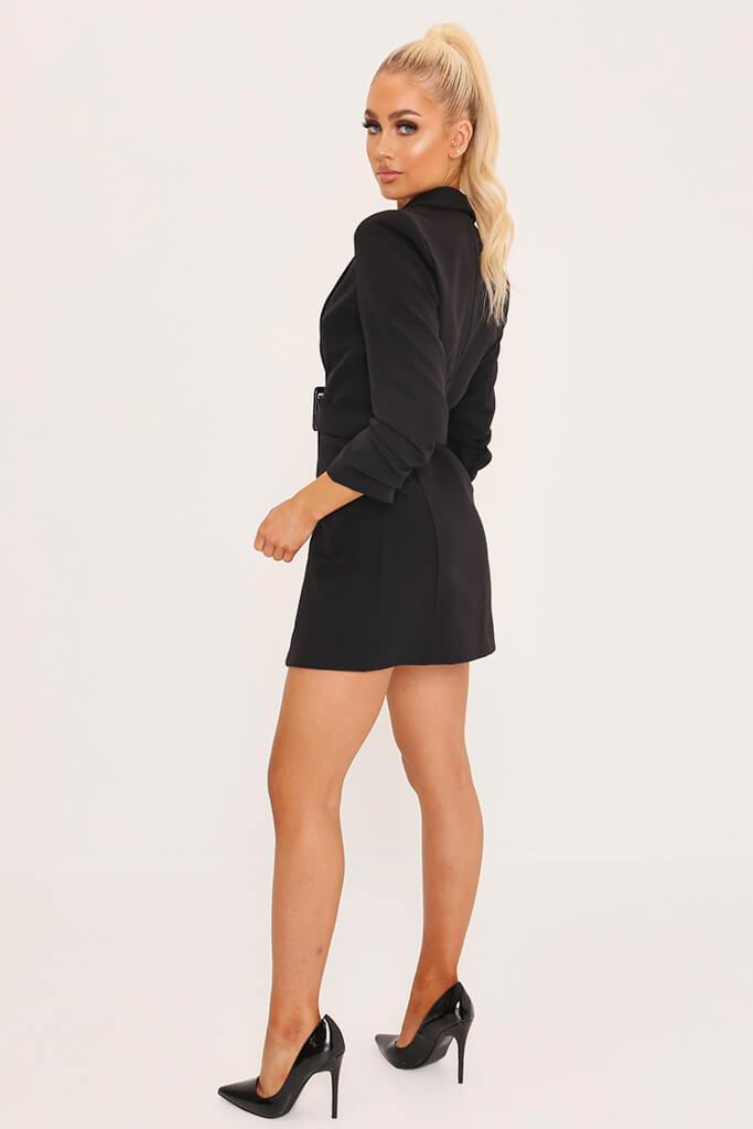 Black Double Button Belted Blazer Dress view 3