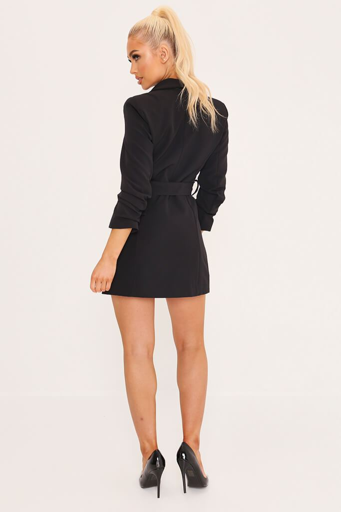 Black Double Button Belted Blazer Dress view 5