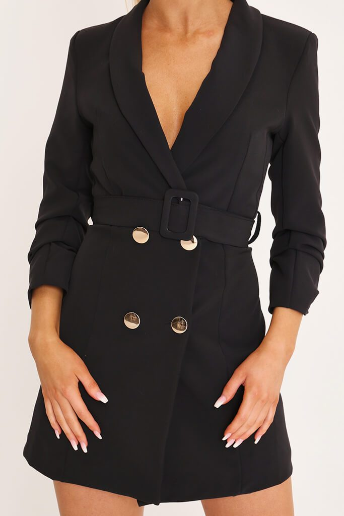 Black Double Button Belted Blazer Dress view 4