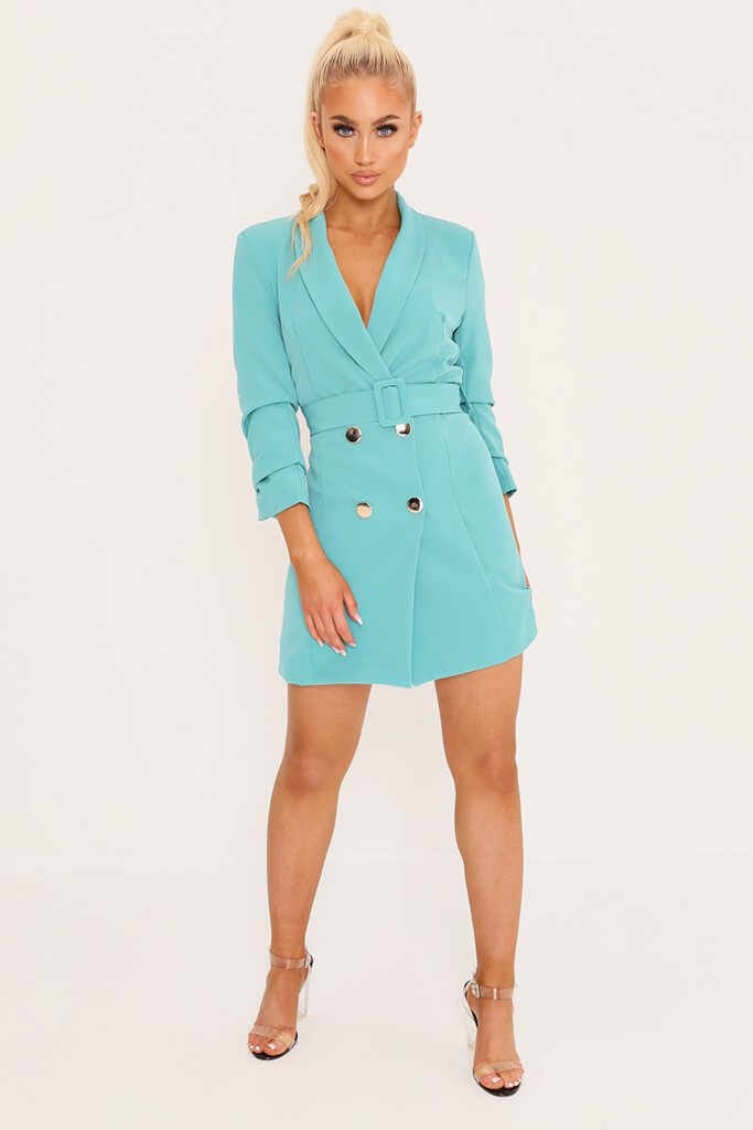 Blue Double Button Belted Blazer Dress view 2