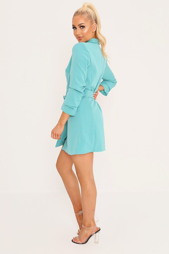 Blue Double Button Belted Blazer Dress view 3