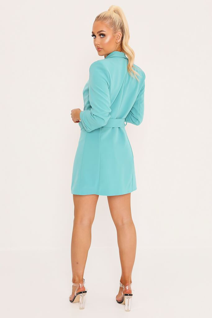 Blue Double Button Belted Blazer Dress view 5
