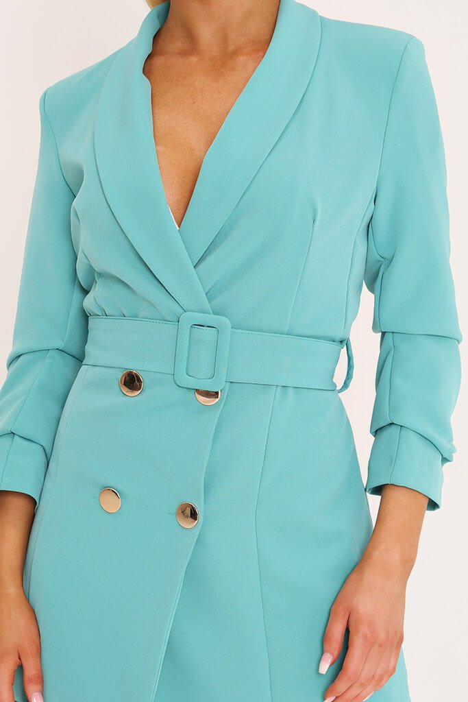 Blue Double Button Belted Blazer Dress view 4