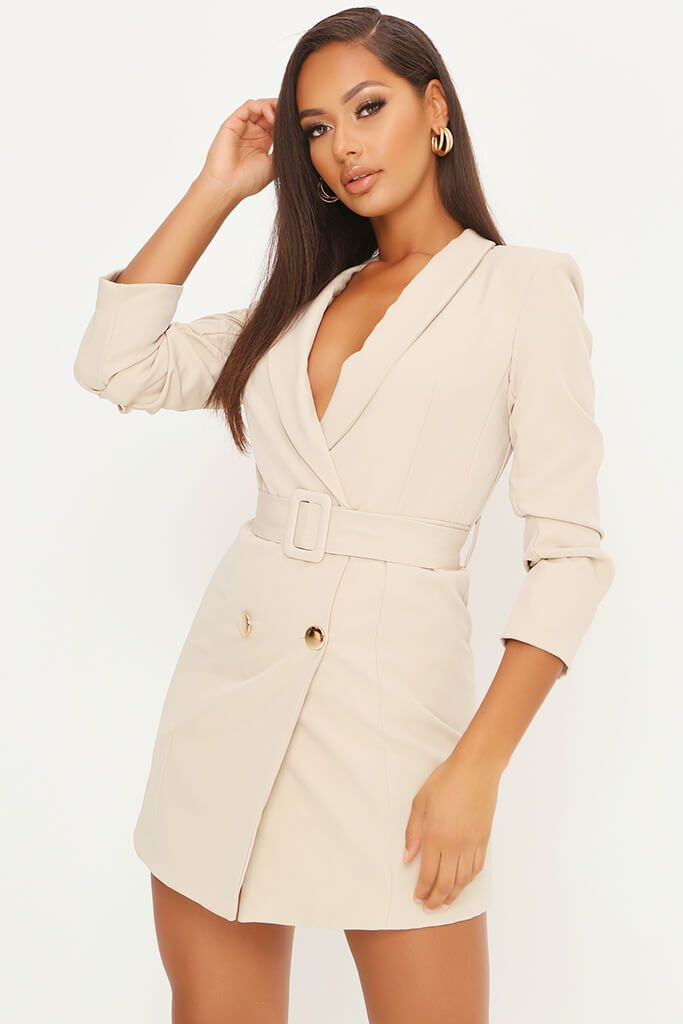 Stone Double Button Belted Blazer Dress