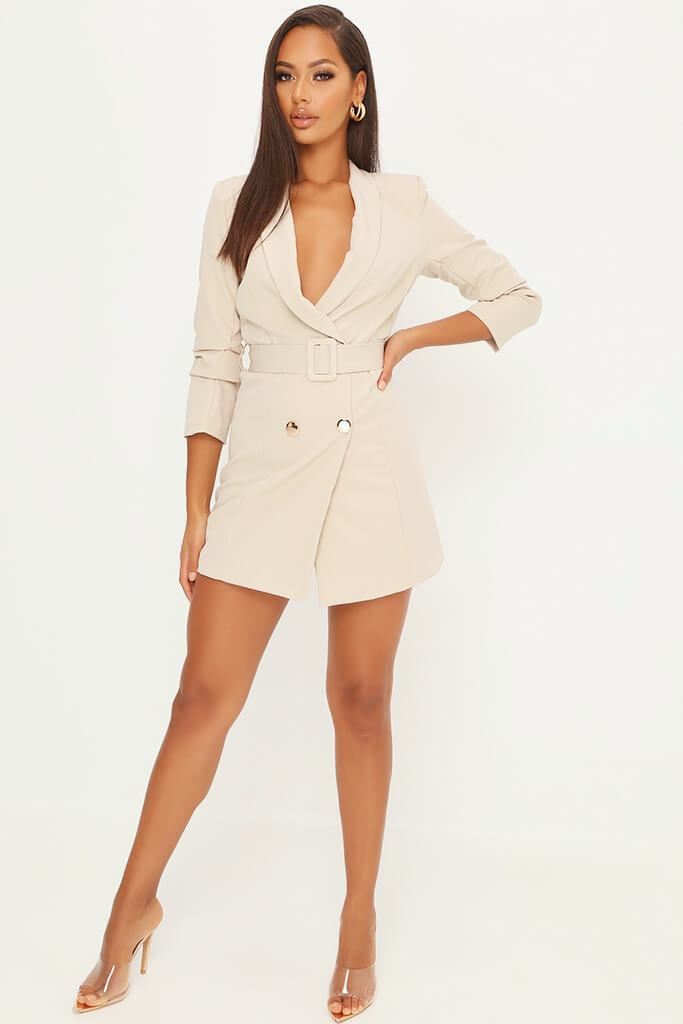 Stone Double Button Belted Blazer Dress view 2