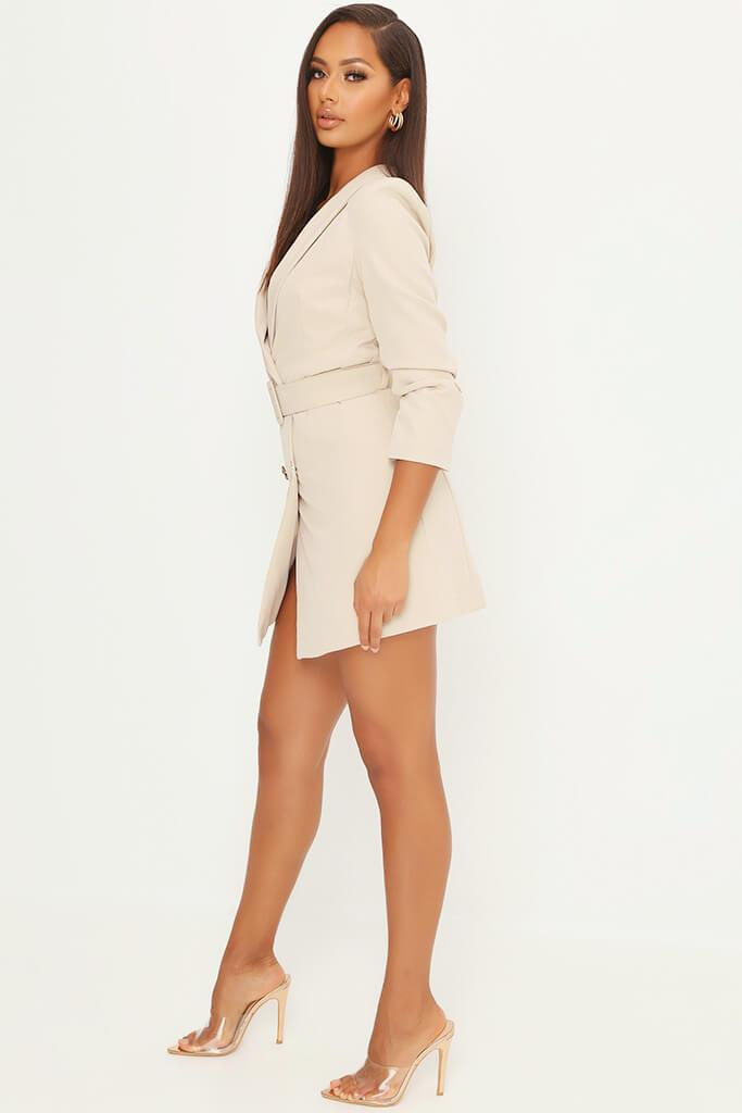 Stone Double Button Belted Blazer Dress view 3