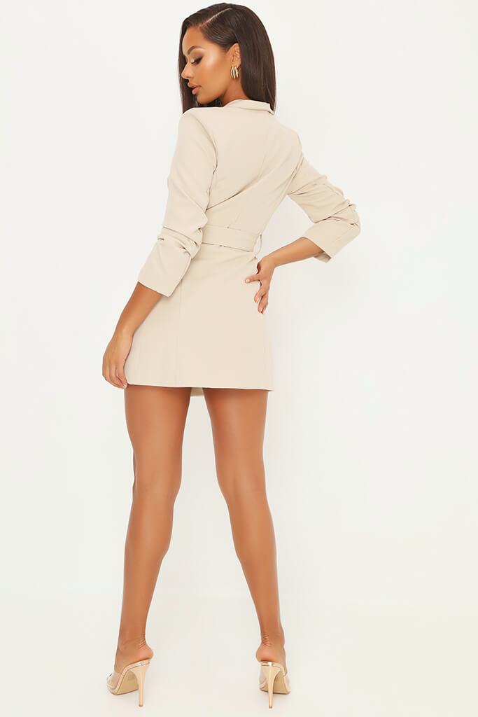 Stone Double Button Belted Blazer Dress view 5