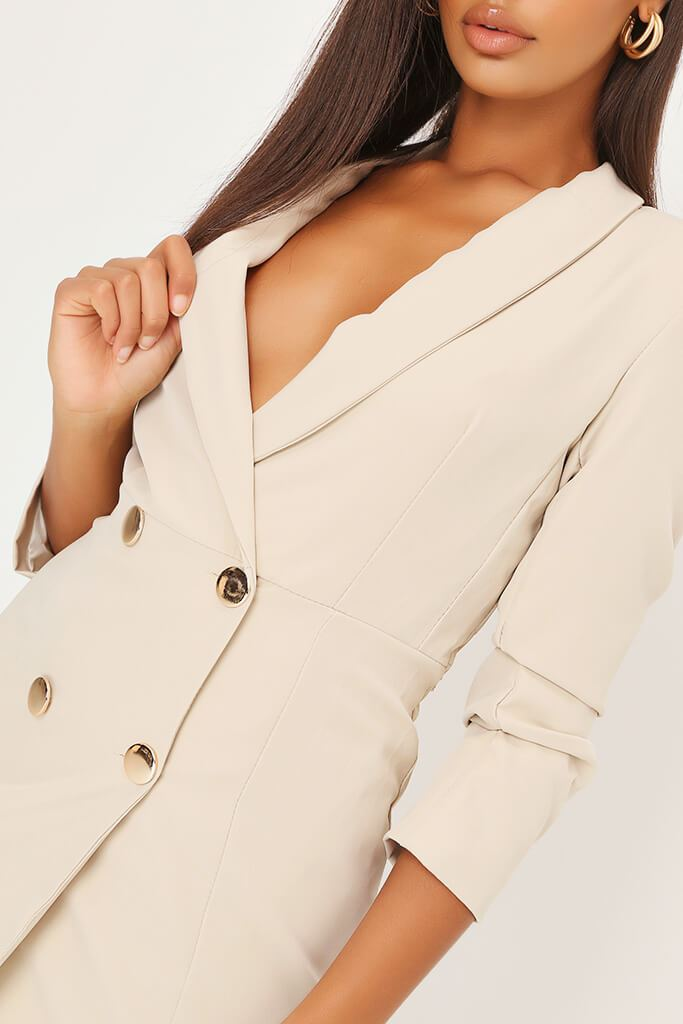Stone Double Button Belted Blazer Dress view 4