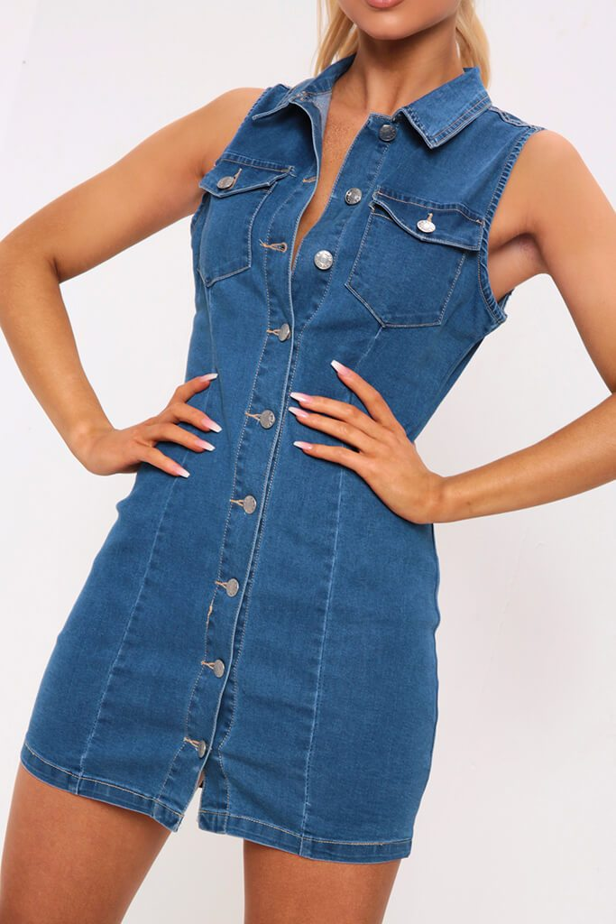 Mid Wash Sleeveless Denim Dress view 4