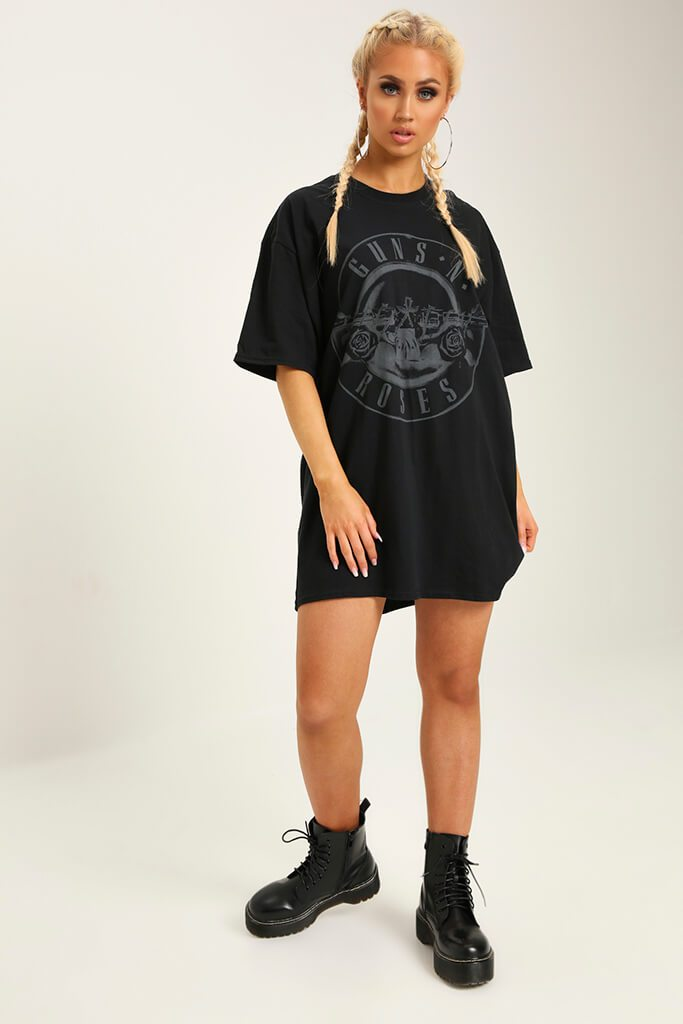 Black Guns N Roses Print T-Shirt Dress view 2