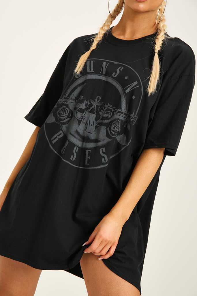 Black Guns N Roses Print T-Shirt Dress view 4