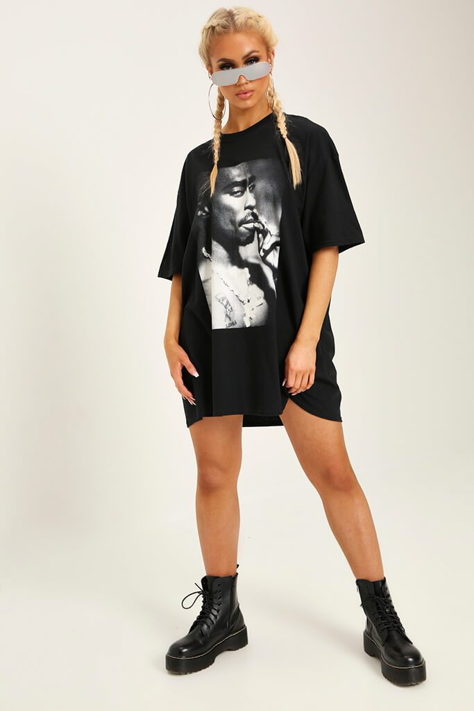 Black Tupac Print T-Shirt Dress view 2