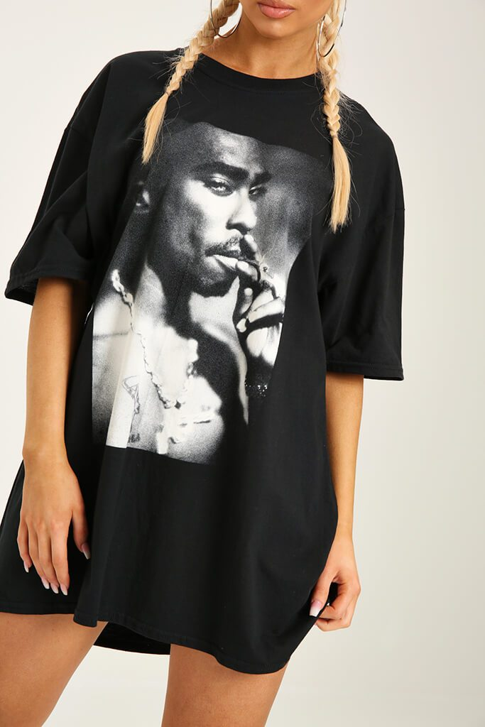 Black Tupac Print T-Shirt Dress view 4