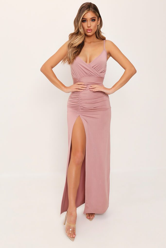 Rose Pink Drape Plunge Slinky Maxi Dress view 2