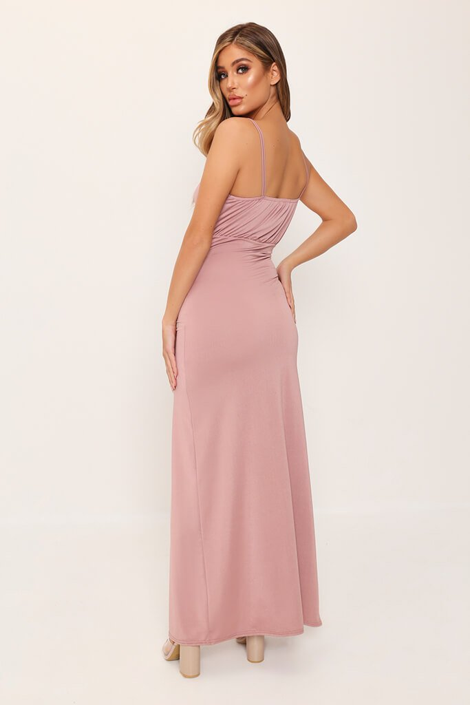 Rose Pink Drape Plunge Slinky Maxi Dress view 5