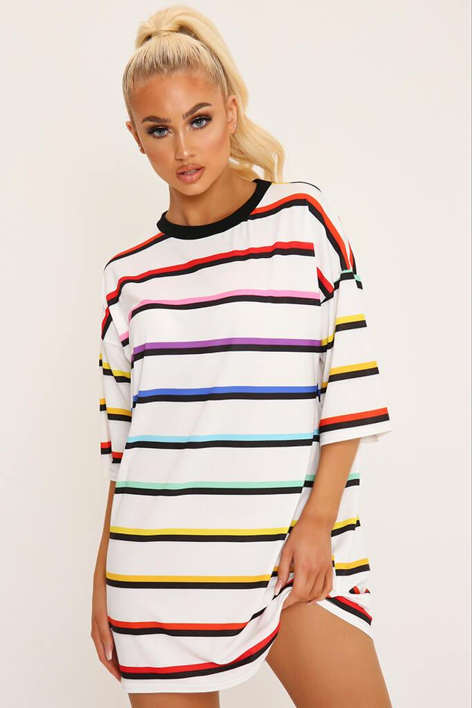 White Rainbow Stripe T-Shirt Dress view main view