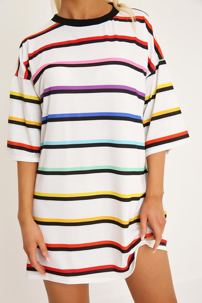 White Rainbow Stripe T-Shirt Dress view 4