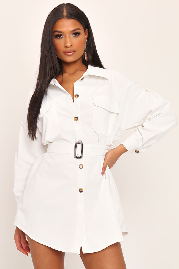 White Drop Shoulder Belted Oversized Shirt Dress