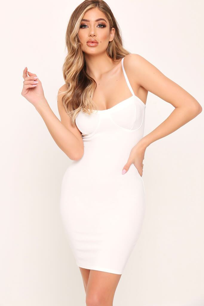 White Cup Detail Bodycon Dress view main view