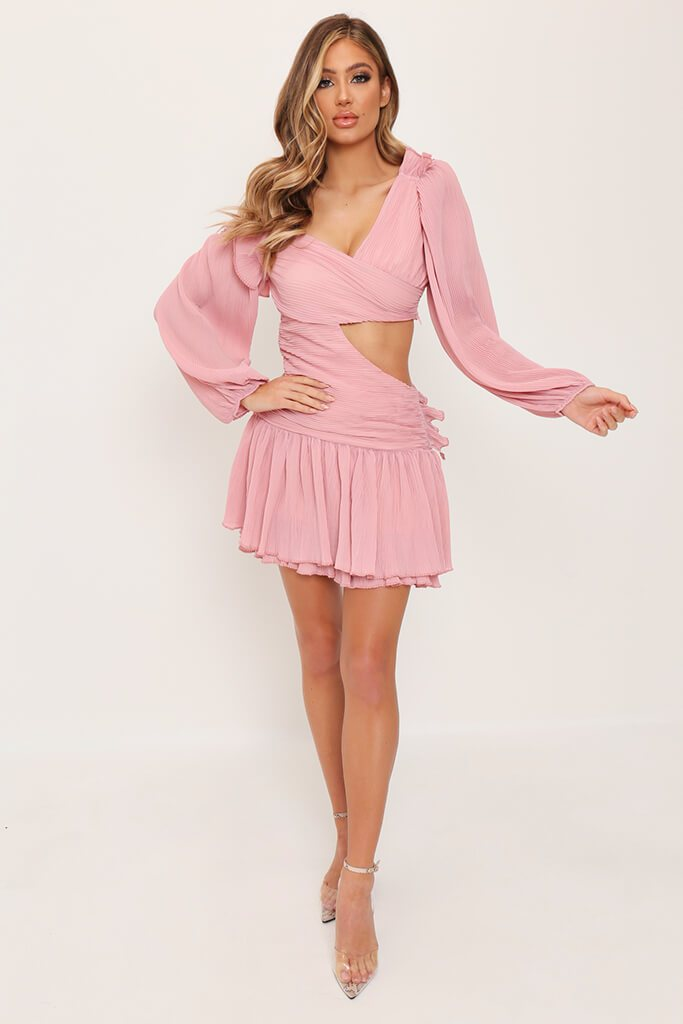 Rose Pink Asymmetric Mini Dress view 2