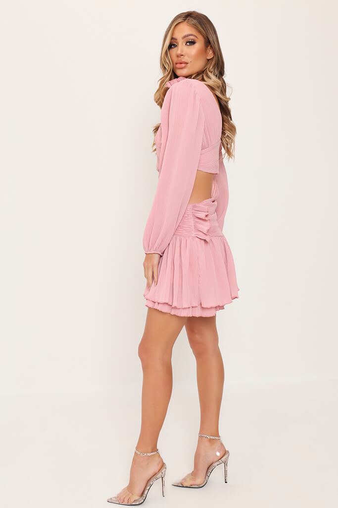 Rose Pink Asymmetric Mini Dress view 3