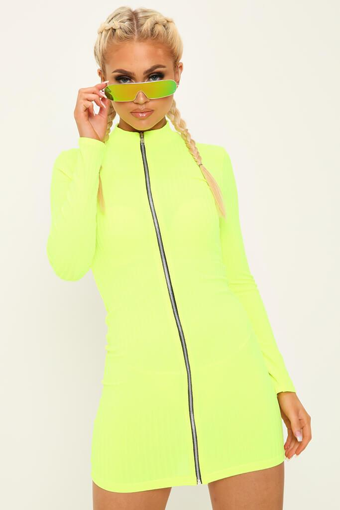 Lime Zip Front High Neck Ribbed Dress