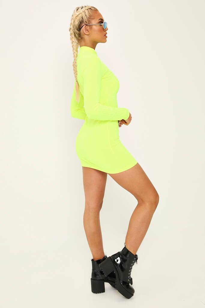 Lime Zip Front High Neck Ribbed Dress view 3