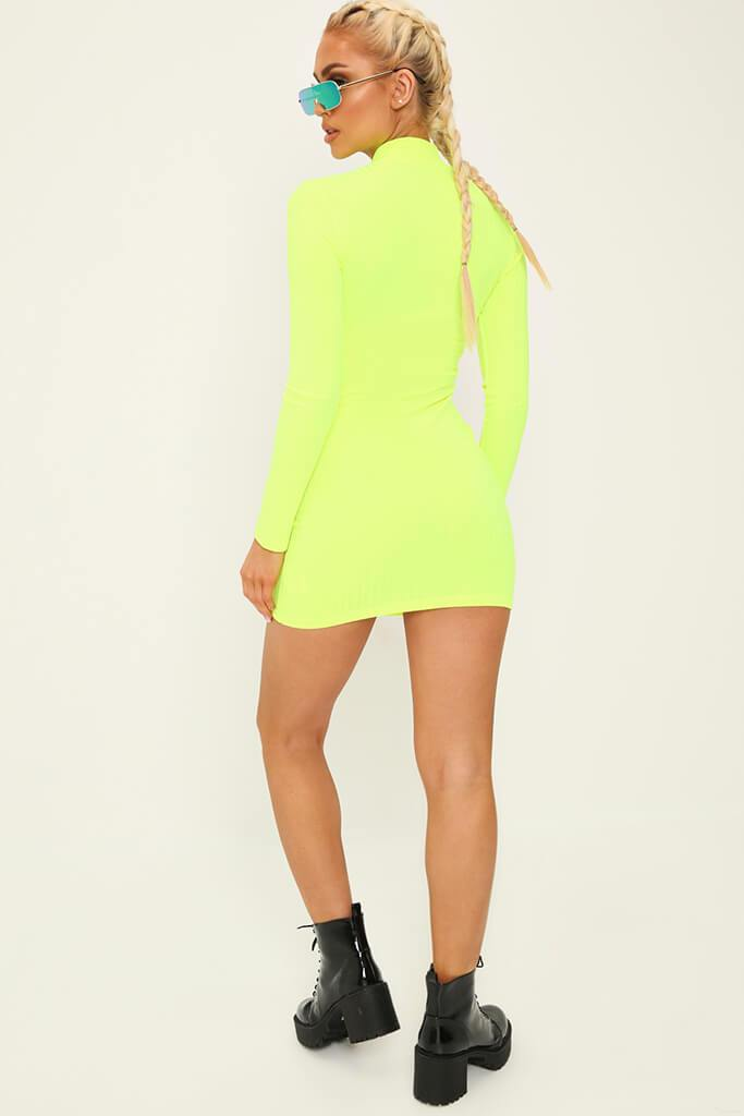 Lime Zip Front High Neck Ribbed Dress view 5