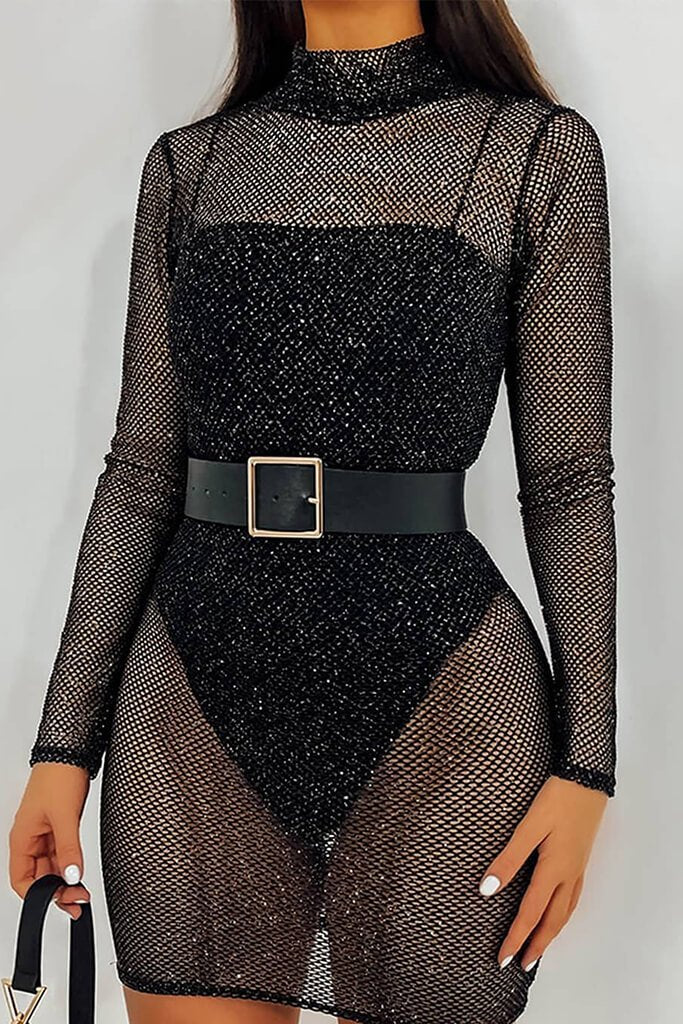 Silver Glitter Mesh Long Sleeve Bodycon Dress view main view