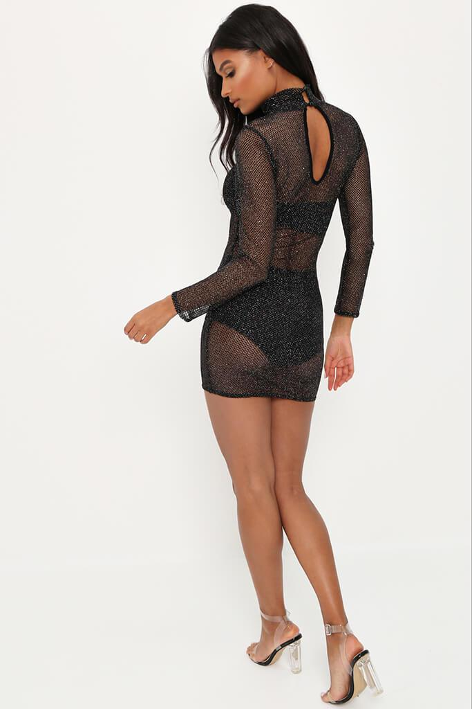 Silver Glitter Mesh Long Sleeve Bodycon Dress view 5