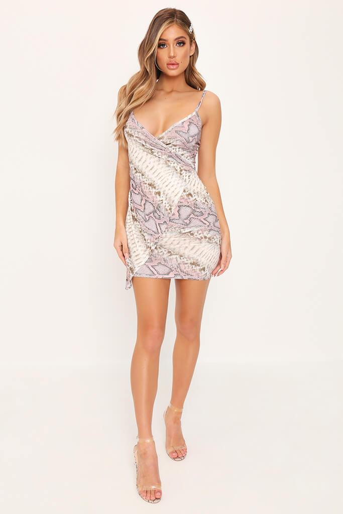 Beige Snake Print Wrap Front Mini Dress view 2