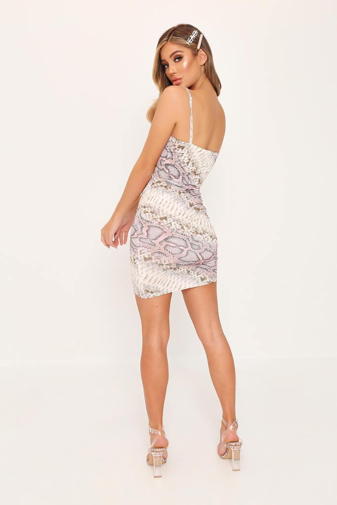 Beige Snake Print Wrap Front Mini Dress view 5