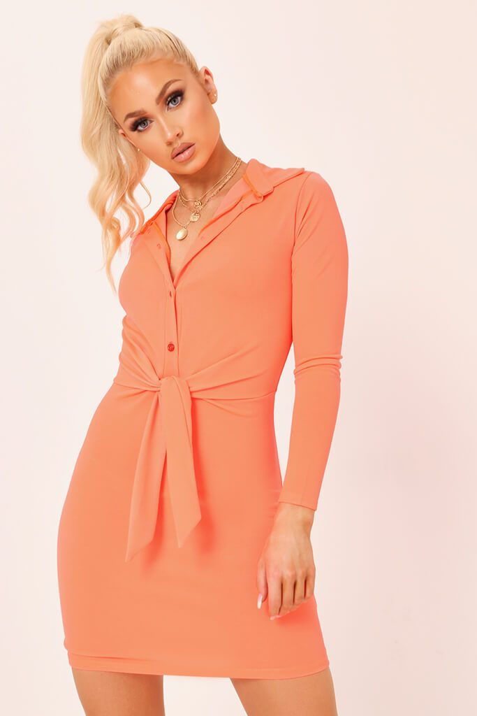 Coral Tie Waist Crepe Shirt Dress