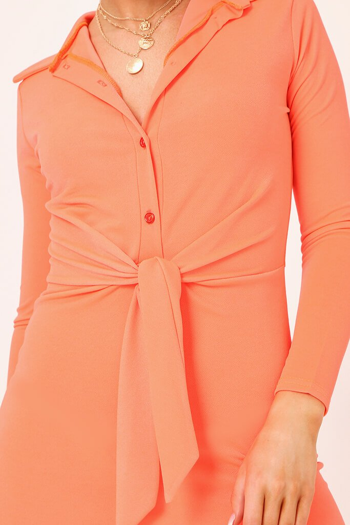 Coral Tie Waist Crepe Shirt Dress view 4