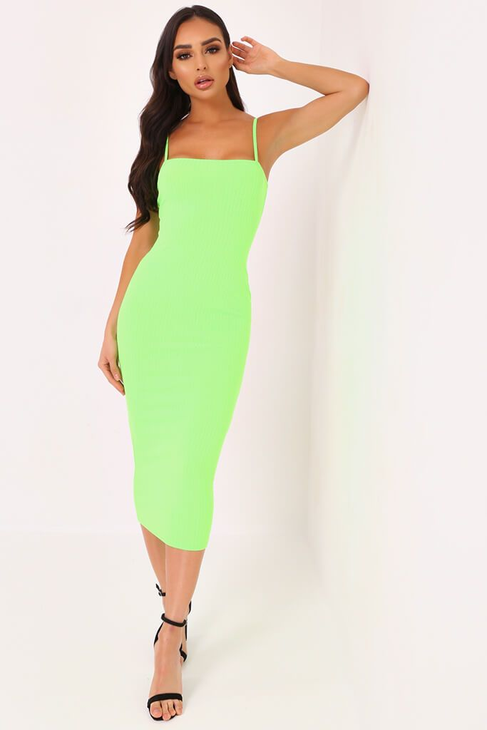 Neon Lime Cami Ribbed Midaxi Dress
