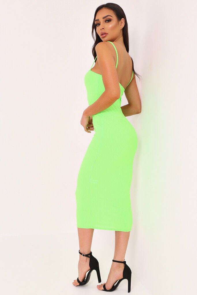 Neon Lime Cami Ribbed Midaxi Dress view 3