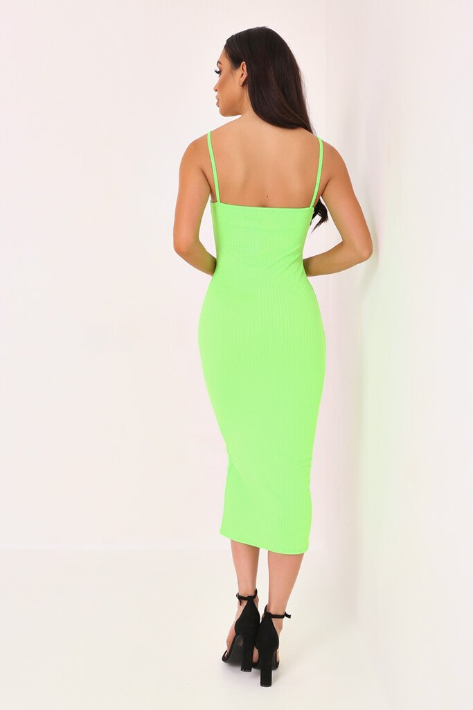 Neon Lime Cami Ribbed Midaxi Dress view 5