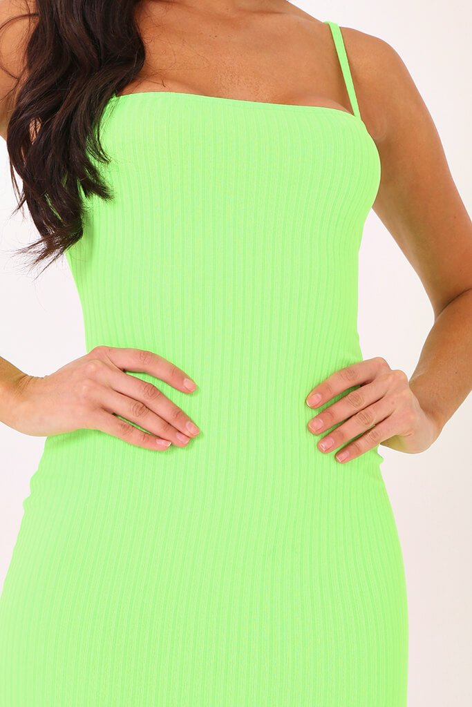 Neon Lime Cami Ribbed Midaxi Dress view 4