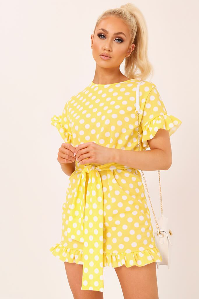 Lemon Polka Dot Tie Waist Frill Detail Dress