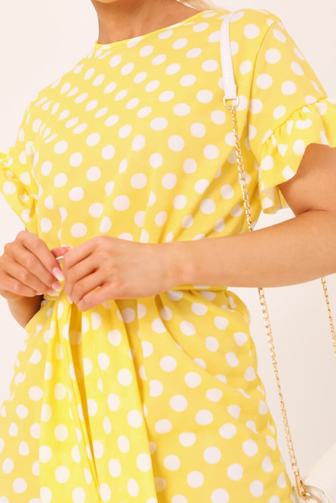 Lemon Polka Dot Tie Waist Frill Detail Dress view 4