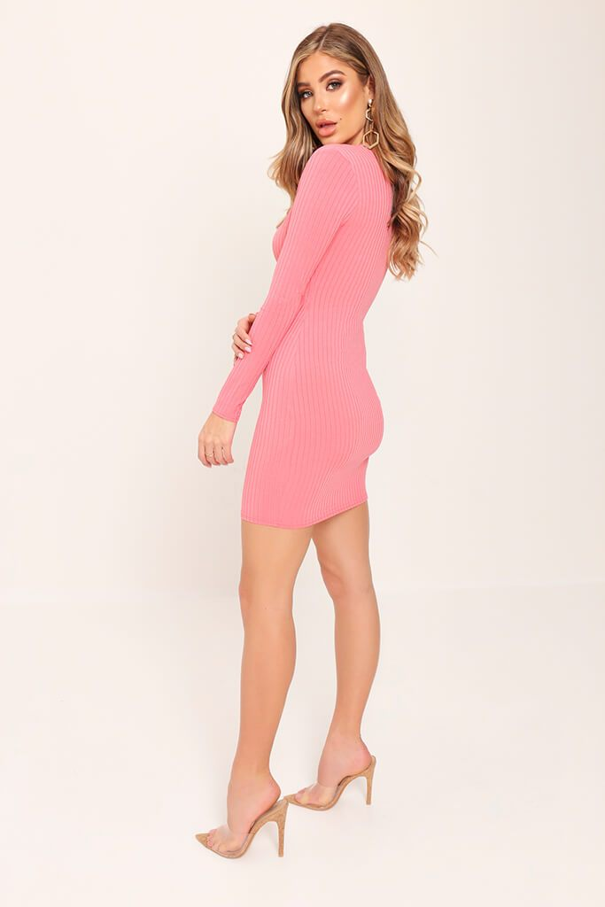 Coral Zip Front Plunge Ribbed Dress view 3