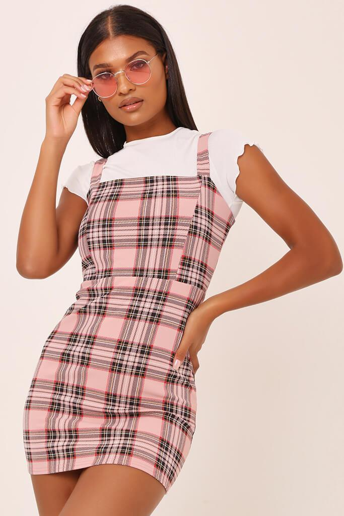 marketable search for official wholesale online Pink check pinafore dress