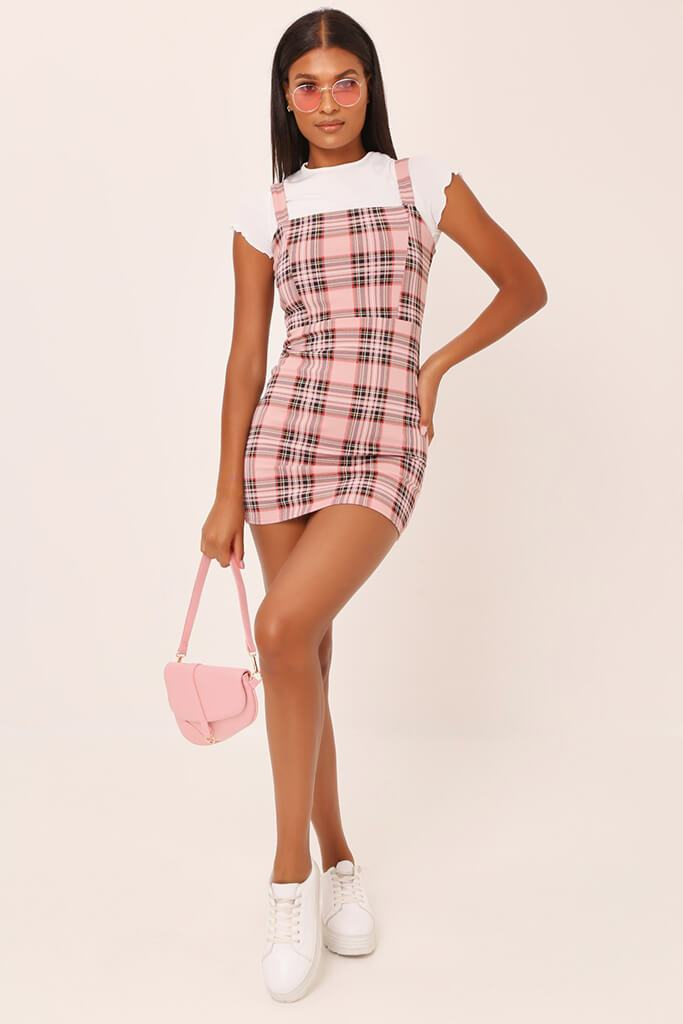 Pink Crepe Check Pinafore Dress view 3