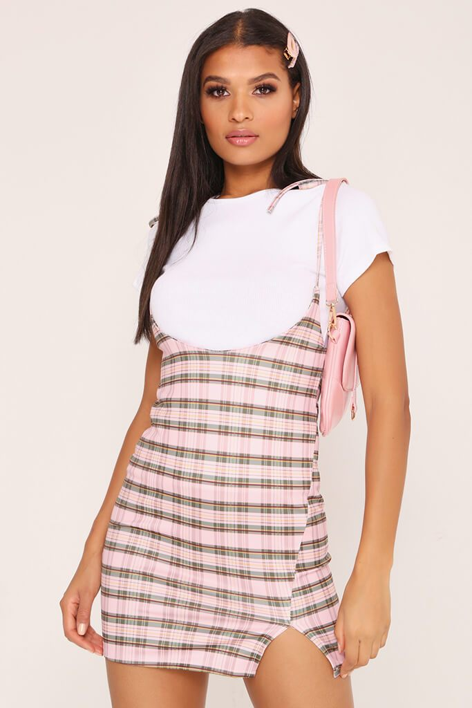 Pink 2 In 1 Check T-Shirt Dress
