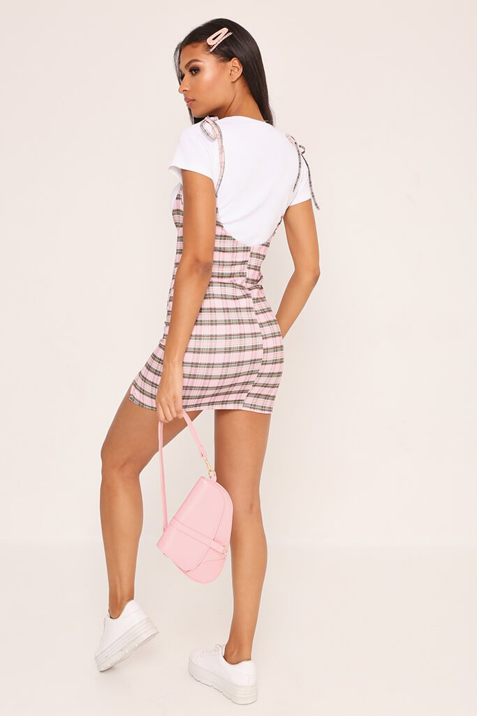 Pink 2 In 1 Check T-Shirt Dress view 5