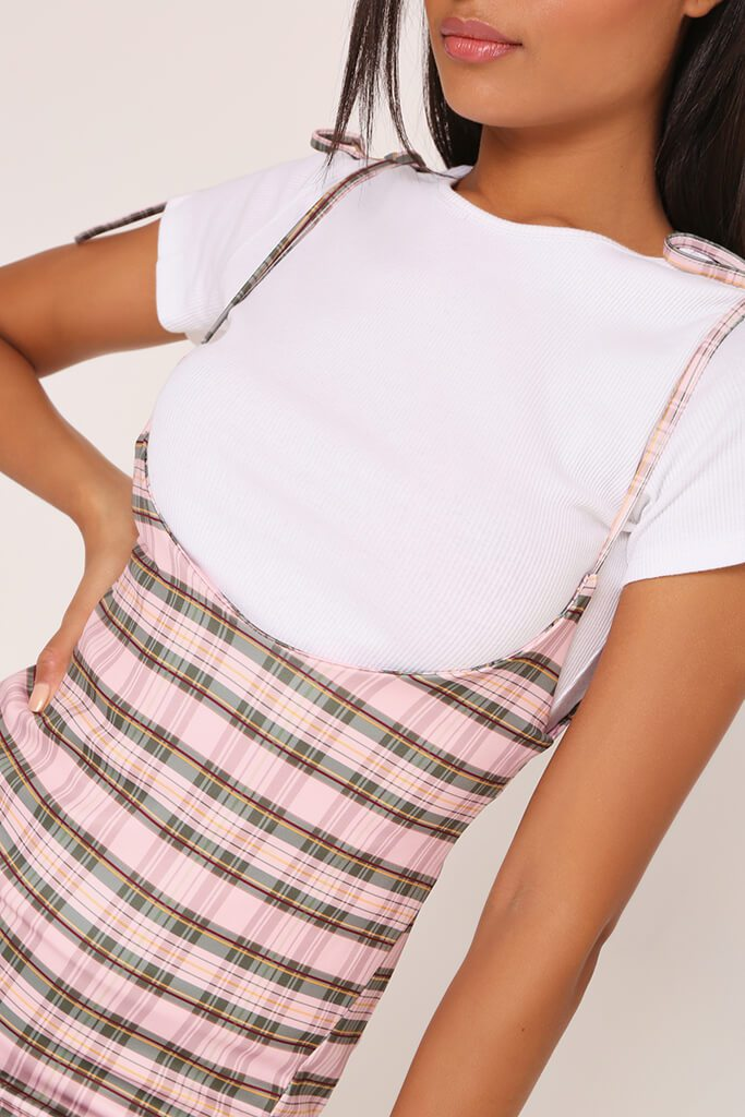 Pink 2 In 1 Check T-Shirt Dress view 4