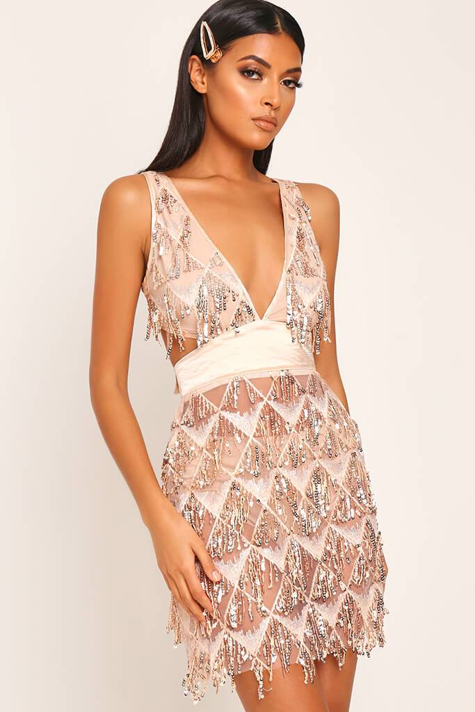 Rose Gold Plunge Cut Out Sequin Mini Prom Dress view 2