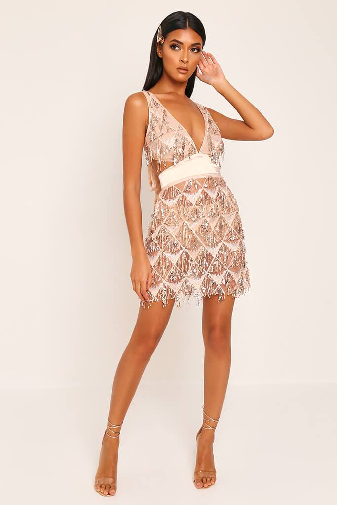 Rose Gold Plunge Cut Out Sequin Mini Prom Dress view 3