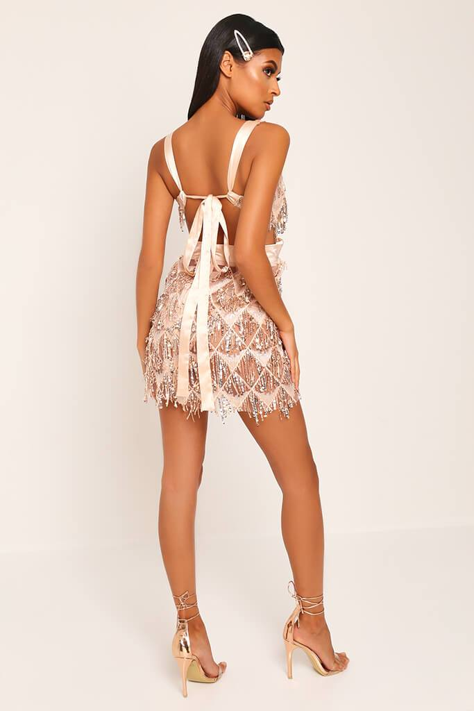 Rose Gold Plunge Cut Out Sequin Mini Prom Dress view 5